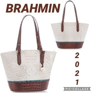 NWT BRAHMIN GENUINE CROC-LEATHER BAG MEDIUM BOWIE